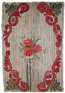 Handmade Vintage American Hooked rug 2.7' x 4.4' (84cm