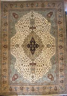 """Persian Kashan Hand Knotted Rug, Wool, 9'4"""" x 13'8"""""""