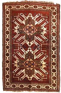 Handmade vintage Caucasian Eagle Kazak rug 5.8' x 8.8'