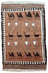 Handmade Vintage Persian Ardabil kilim 3' x 4.6' (92cm
