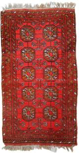 Handmade vintage Afghan Ersari rug 1.7' x 3.2' (54cm x
