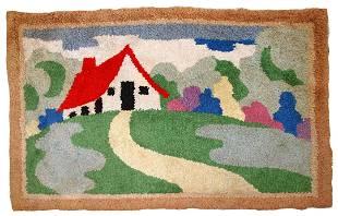 Handmade vintage American Hooked rug 1.9' x 2.9' (58cm