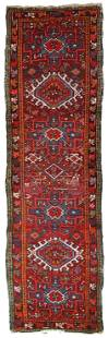 Handmade Vintage Persian Karajeh distressed runner 2.2'