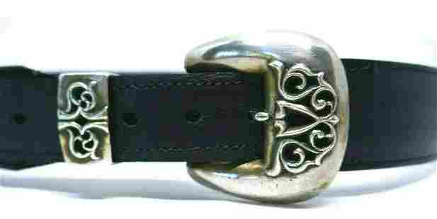 c1989 Chrome Hearts Sterling Black Leather Belt
