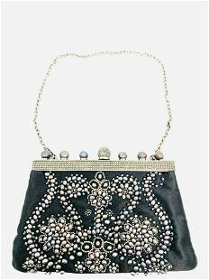 Vintage VALENTINO Garavani Black Bead Pearl Evening
