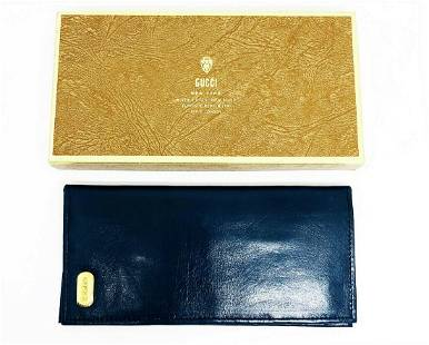 Vintage 1970's 1980's GUCCI Navy Leather Check Book