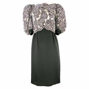Vintage MICHAEL NOVARESE Black and White Sequin Silk
