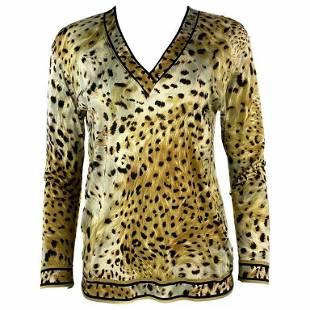 Vintage LEONARD Paris Silk Leopard V Neck Long Sleeve