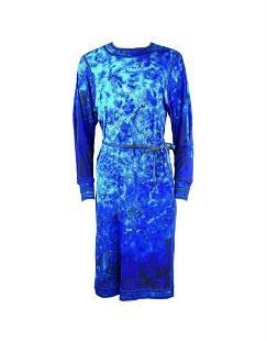 Vintage LEONARD Paris Blue Aqua Long Sleeves Midi Dress