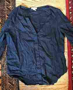 Barneys New York Navy Linen Cotton Blouse Size Medium