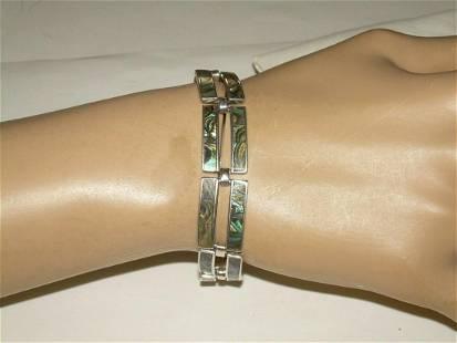 """Vintage Sterling Abalone Panel Link Bracelet, 6 1/2"""","""