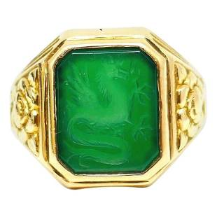Bailey Banks and Biddle Carved Chrysoprase Yellow Gold