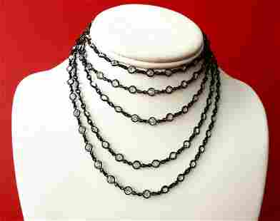 Antique 65-Inch Gunmetal Necklace With 138 Paste