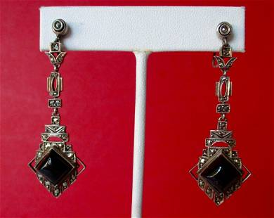 Pair of Antique Sterling Silver & Onyx Screw-Back