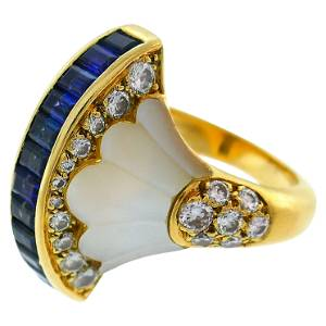 French Yellow Gold Cocktail Ring with Diamond Sapphire