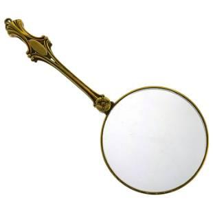 Art Nouveau Yellow Gold Magnifying Glass Pendant