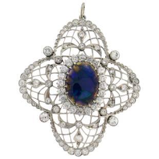 Bailey Banks & Biddle Opal Diamond Platinum Pendant