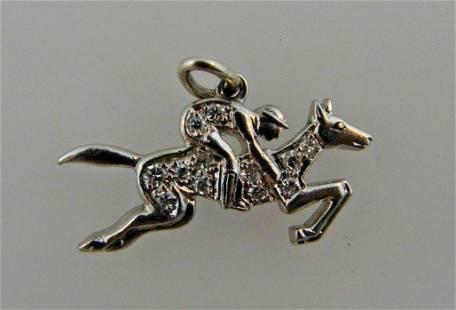 ART DECO Platinum & Diamond Equestrian Charm Circa