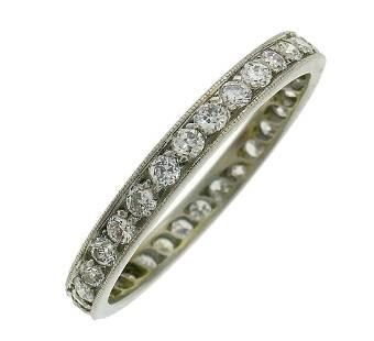 Art Deco Diamond Platinum ETERNITY BAND RING WEDDING