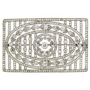 Edwardian Diamond & Platinum Brooch Pin 1920's