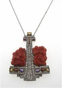 Art Deco Diamond and Coral Platinum Anchor Pendant