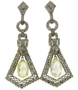 Diamond Briolette White Gold Dangle EARRINGS 1930s
