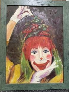 """Shaida, Cheerful Clown, Oil Painting, 27"""" x 20.5"""""""