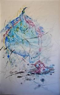 Roya Mansourkhani, Assumption of A Woman, Watercolor,