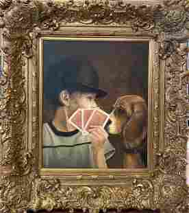 K. Rudat, Boy Playing Cards With Dog, Oil, 38.5†x