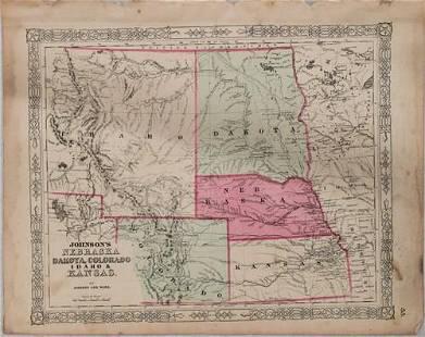 1864 Johnson Map of Nebraska, Dakotas, Idaho and Kansas