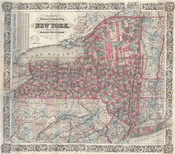 Colton's Railroad & Township Map of the State of New