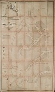 1842 US Army Map of Lake St. Clair by Detroit -- Map of
