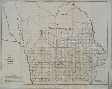 1852 Survey Map of Iowa -- (No. 2) Sketch of the Public