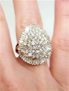 4.00ct COMPOSITE DIAMOND PEAR SHAPED STARBURST RING in