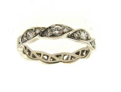 PLATINUM DIAMOND WEDDING BAND RING WAVE STYLISH SIZE 7