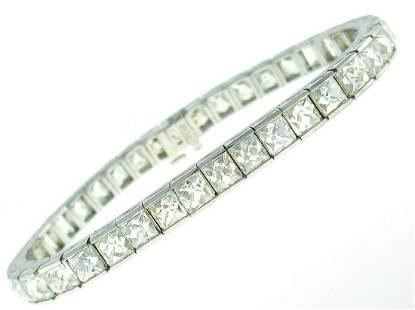 French Cut Diamond Platinum Tennis Line BRACELET 23.50