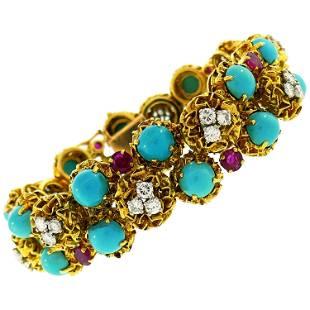 Turquoise Diamond Ruby Yellow Gold Bracelet French,