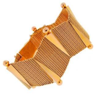 Vintage 18k Yellow Gold Retro Bracelet