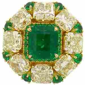 2.24 Carat Emerald Diamond Yellow Gold Ring