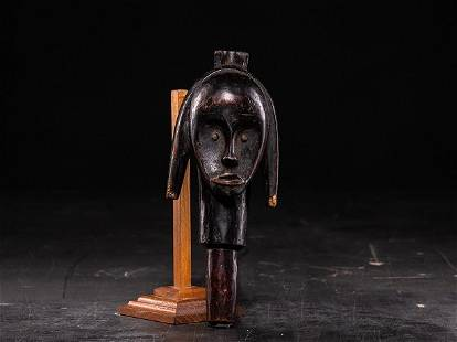 Fang People,Gabon.tête reliquaire en bois