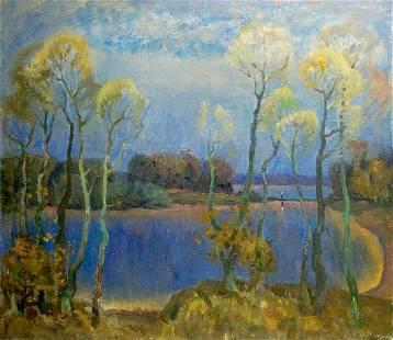 Oil painting Blue day Mynka Alexander Fedorovich