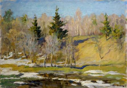 Oil painting End of winter Mynka Alexander Fedorovich