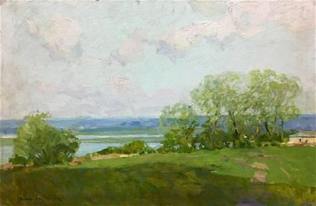 Oil painting River flows Zakharov Fedor Zakharovich