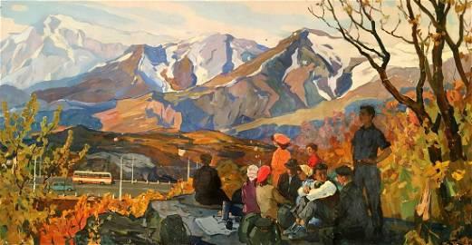 Oil painting Mountain landscape