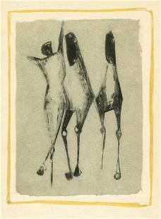 "Marino Marini pochoir ""Jongleur et chevaux"""