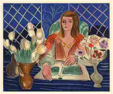 """Henri Matisse lithograph """"Annelies with Tulips and"""