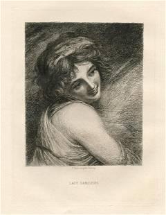 "Paul Rajon etching ""Lady Hamilton"" George Romney"
