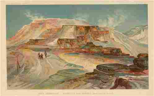 "Thomas Moran chromolithograph ""Mammoth Hot Springs"