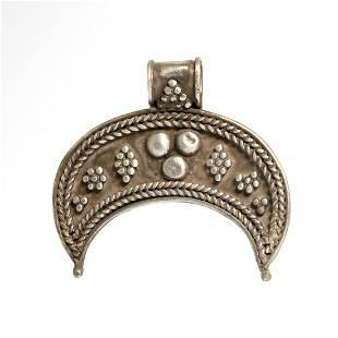 Roman Silver Filigree Work Lunar Pendant
