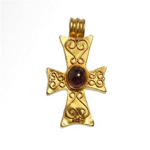 Byzantine Gold Cross with Garnet and Filigree
